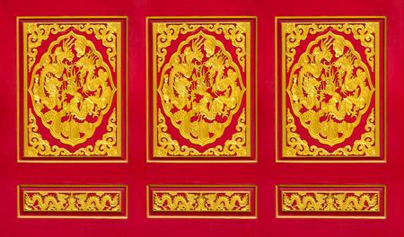 Close up Chinese door, Golden Dragon door photo