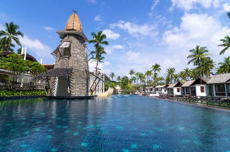graceland: KHAOLAK, THAILAND - OCT 31 : Architecture exterior with swimming pool of the SENTIDO Graceland Khao Lak Resort & Spa.is located 90 kilometres north of Phuket, on October 31, 2013 in Khaolak, Thailand