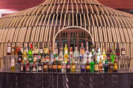 graceland: KHAOLAK, THAILAND - NOV 1 : Whiskey bar at Lobby of the SENTIDO Graceland Khao Lak Resort & Spa. is located 90 kilometres north of Phuket, on November 1, 2013 in Khaolak, Thailand