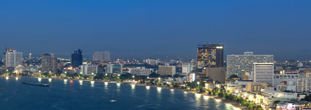 Pattaya cityscape Modern building sea beach side at twilight time,Thailand photo