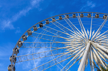 some part of Ferris Wheel at evening time photo