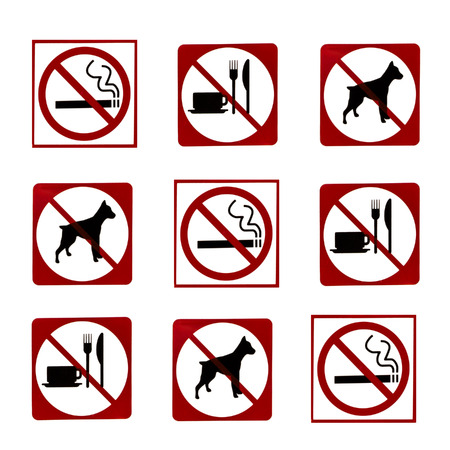 abstain: Prohibited No dog, No smoking,No food and drink sign
