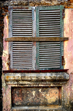 destructed: Ruined house, vintage window
