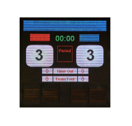 score board: Match LED score board with timer Stock Photo