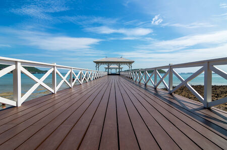 Beautiful wooden pier at Koh Si Chang island, Thailand photo