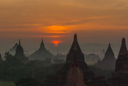 sunrises: BAGAN Sunrises, Myanmar Stock Photo