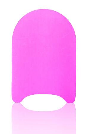 flotation: pink color pool kick board on white background