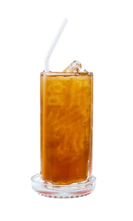 Thai style ice Tea on white background, ice black tea photo