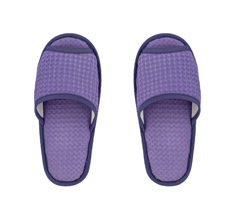 terrycloth: Blue slippers on a white background