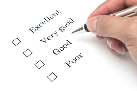 very good: Mark Excellent or very good with pen on survey paper document