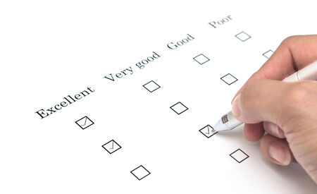 very good: Mark very good with pen on survey paper document