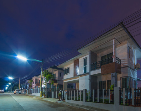 townhomes: Exterior Townhome or Townhouse at Twilight time