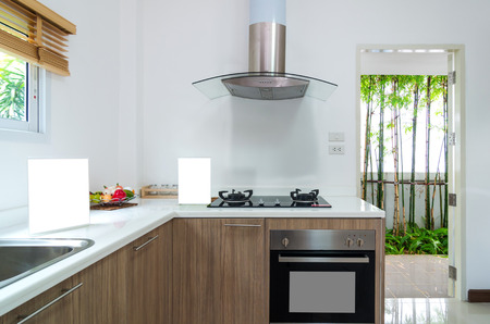 domestic kitchen: Interior kitchen with electric