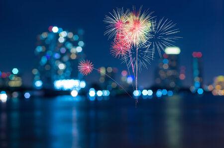 Multicolor fireworks with bangkok cityscape Blurred Photo bokeh photo