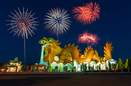 Golden Dragon with fireworks at Suphanburi, Thailand, Public architecture for travel photo