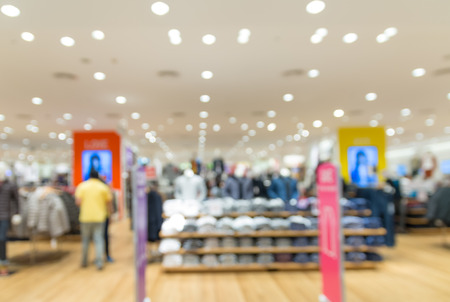 Clothes store blur background with bokeh photo