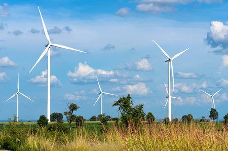 power generator: Wind turbine power generator on blue sky Stock Photo