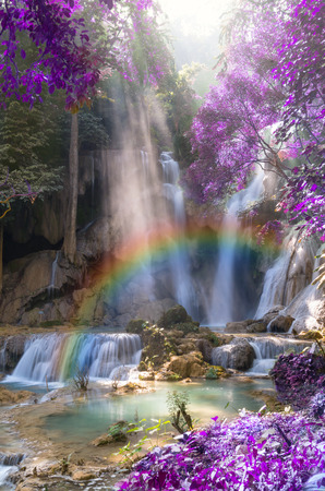 waterfall river: Beautiful waterfall with soft focus and rainbow in the forest