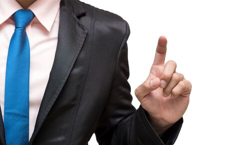 navy blue suit: Businessman pointing or touching on white background