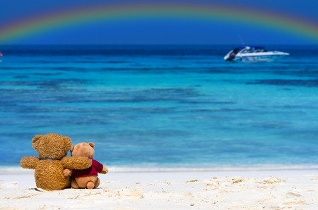 Two TEDDY BEAR brown color sitting on the beautiful beach with rainbow Banco de Imagens