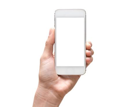 白い背景の上の女性手モバイル スマート フォン タッチ スクリーン 写真素材