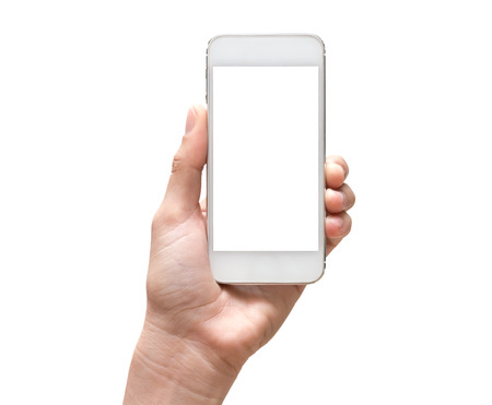 Female hand holding mobile smart phone touch screen on white background