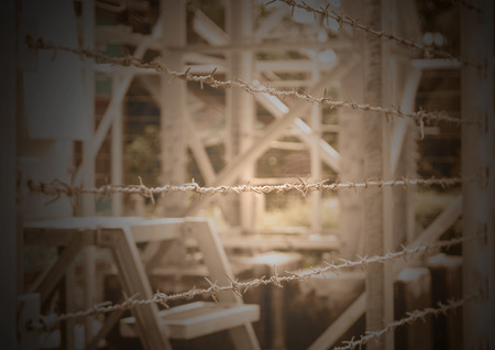 barbed wire fence: Barbed Wire Fence border the dangerous area Stock Photo