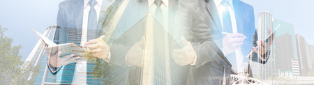 Double exposure of businessman with cityscape Modern glass Business building