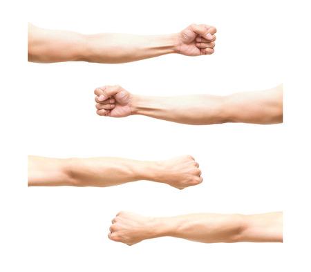 puños cerrados: Resumiendo 4 pic del brazo en la acción puño sobre fondo blanco