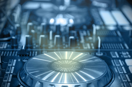 digital music: Digital music equipment, music mixer with track Stock Photo
