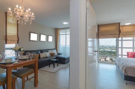 luxury living room: Luxury Interior living room and bedroom Stock Photo