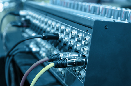 digital music: Digital music equipment, music mixer with electric wire Stock Photo