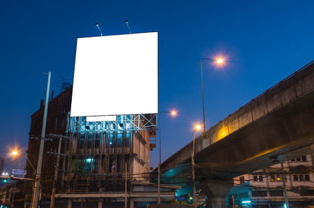 advertisement: Blank billboard for advertisement at twilight time