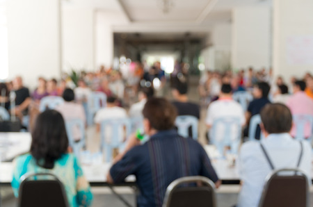 Meeting Blurred background at bright conference hall photo