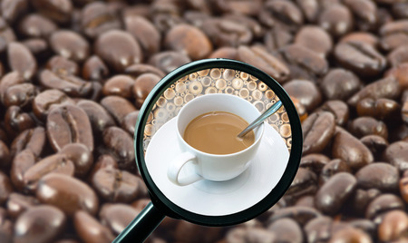 magnifying glass with background of roasted coffee beans to be coffee cup, food and drink with business concept photo