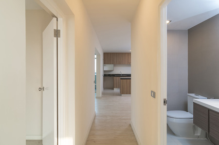 bath room: Empty Interior Living , kitchen and bath Room in a new apartment Stock Photo
