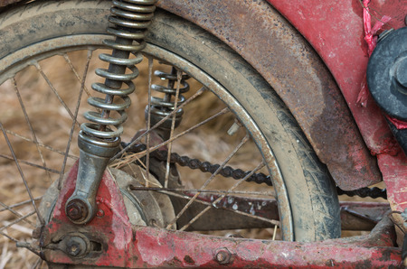 chaff: Old motorcycle with rusty components Stock Photo