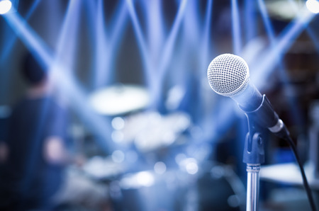 microphone: Close up of microphone on musician blurred background