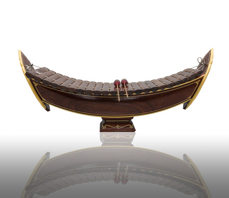 thai musical instrument: Thai musical instrument (Alto xylophone) on white background,asian instrument