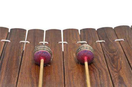 thai musical instrument: Closeup Thai musical instrument (Alto xylophone) on white background, asian instrument,include clipping path