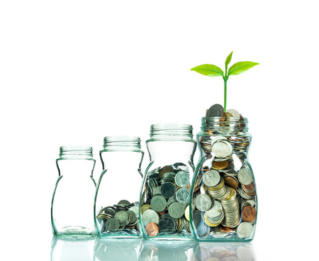 clear bottle: Mix coins and seed in clear bottle on white background,Business investment growth concept Stock Photo