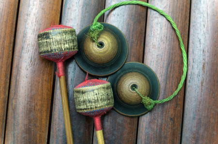 thai musical instrument: Closeup Thai musical instrument (Alto xylophone) with castanets, asian instrument