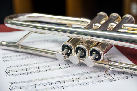 melody: Closeup the trumpet on music melody