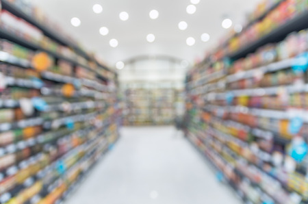 grocery shelves: Supermarket blur background with bokeh, Miscellaneous Product shelf