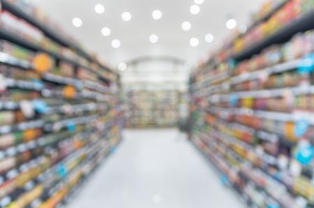 tiendas de comida: Supermercado desenfoque de fondo con el bokeh, estante Diverso Producto