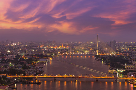 krung: Bangkok Cityscape which can see Rama VIII bridge, Krung Thon Bridge and Grand palace or wat phar keao temple at twilight time, Thailand