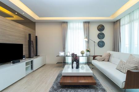 豪華な内装のリビング ルーム 写真素材