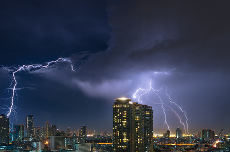 Lightning over the Bangkok cityscape at night