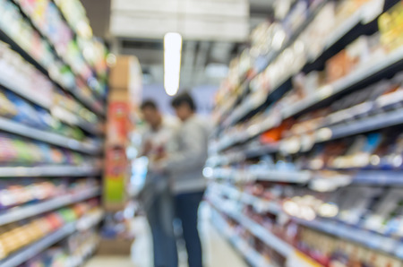 miscellaneous: Supermarket blur background with bokeh, Miscellaneous Product shelf