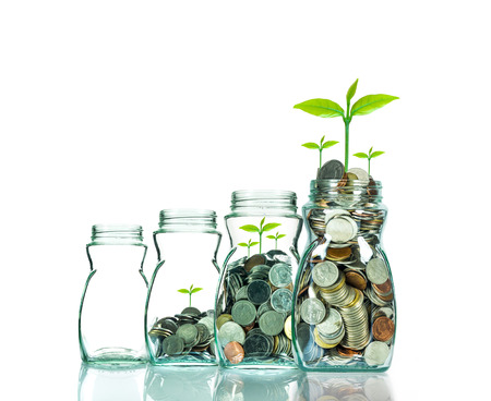 Mix coins and seed in clear bottle on white background,Business investment growth concept Banco de Imagens